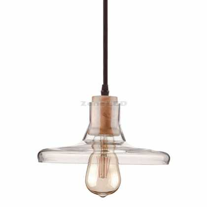 Transparent Glass Pendant Light 240cm E27 Wooden Socket Holder