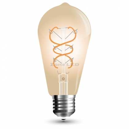 LED Крушка - 5W E27 Filament Gold Glass Curve Shape ST64 2200K - NEW