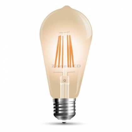 LED Bulb - 6W E27 Filament Amber Cover ST64 2200K