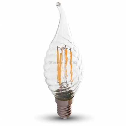 LED Bulb - 4W Filament  E14 Twist Candle Tail 6000K