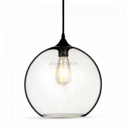 GLOBE GLASS PENDANT LIGHT -TRANSPARENT D:300