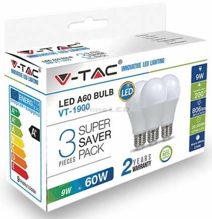 9W A60 LED PLASTIC BULB COLORCODE:4000K E27 3PCS/PACK