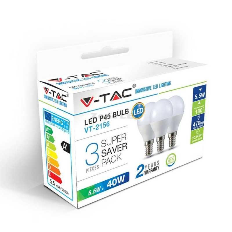 3 Er SET 5.5W E14 P45 Plastik Lampe 4000K