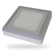 6W+2W LED Surface Panel Downlight - Square 6000K EMC+CR80